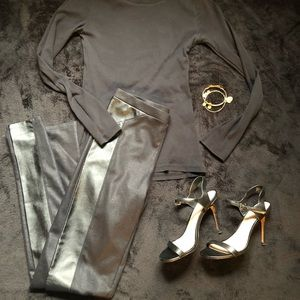 Trouve side stripe faux Leather Leggings sz XS